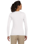 White Ladies' 4.5 oz. SoftStyle Junior Fit Long-Sleeve T-Shirt as seen from the back