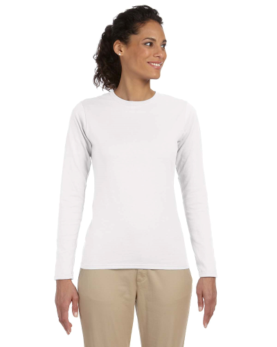 White Ladies' 4.5 oz. SoftStyle Junior Fit Long-Sleeve T-Shirt as seen from the front