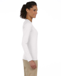 White Ladies' 4.5 oz. SoftStyle Junior Fit Long-Sleeve T-Shirt as seen from the sleeveleft