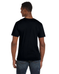 Black Softstyle® 4.5 oz. V-Neck T-Shirt as seen from the back