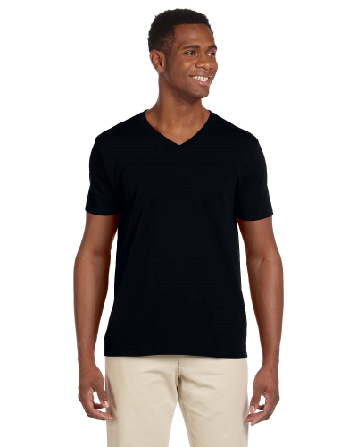 Black Softstyle® 4.5 oz. V-Neck T-Shirt as seen from the front