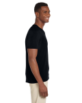 Black Softstyle® 4.5 oz. V-Neck T-Shirt as seen from the sleeveleft