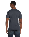 Charcoal Softstyle® 4.5 oz. V-Neck T-Shirt as seen from the back