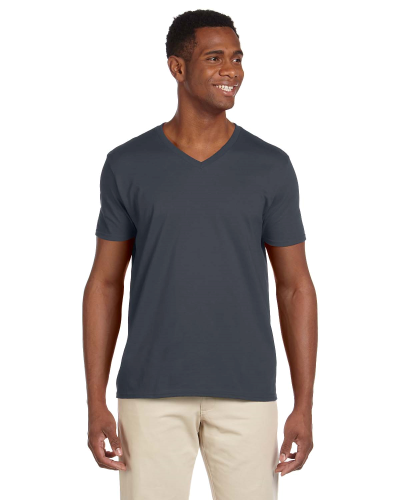 Charcoal Softstyle® 4.5 oz. V-Neck T-Shirt as seen from the front