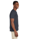 Charcoal Softstyle® 4.5 oz. V-Neck T-Shirt as seen from the sleeveleft