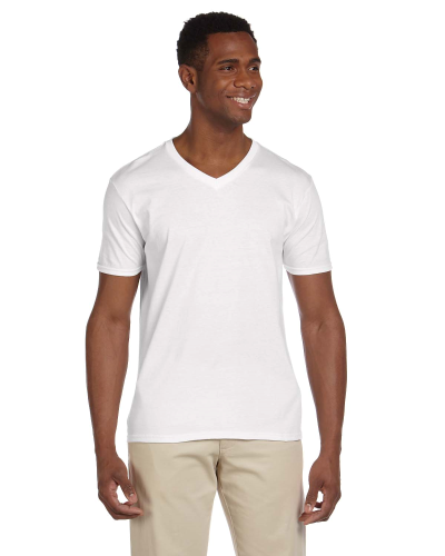 White Softstyle® 4.5 oz. V-Neck T-Shirt as seen from the front