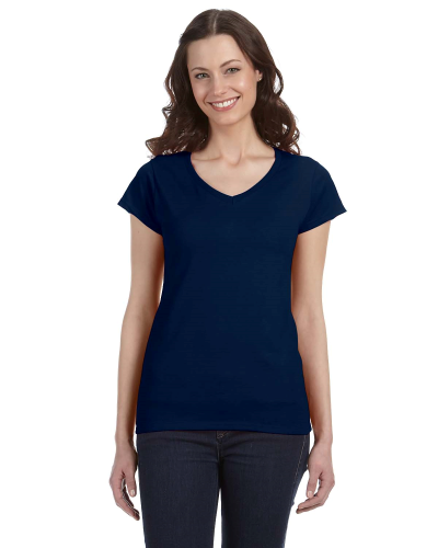 Navy SoftStyle® Ladies' 4.5 oz. Junior Fit V-Neck T-Shirt as seen from the front