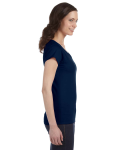 Navy SoftStyle® Ladies' 4.5 oz. Junior Fit V-Neck T-Shirt as seen from the sleeveleft