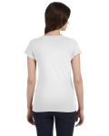 White SoftStyle® Ladies' 4.5 oz. Junior Fit V-Neck T-Shirt as seen from the back