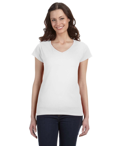 White SoftStyle® Ladies' 4.5 oz. Junior Fit V-Neck T-Shirt as seen from the front