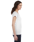 White SoftStyle® Ladies' 4.5 oz. Junior Fit V-Neck T-Shirt as seen from the sleeveleft