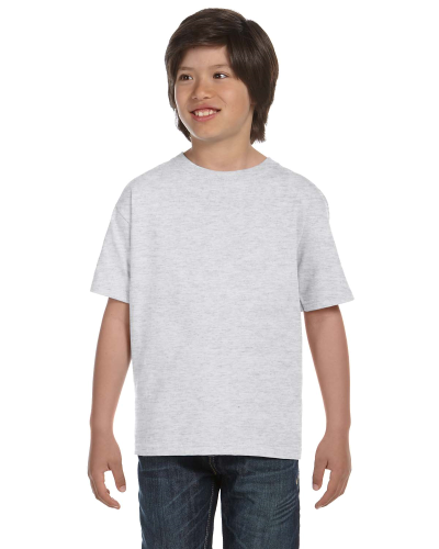 Ash Grey Youth DryBlend 5.6 oz., 50/50 T-Shirt as seen from the front
