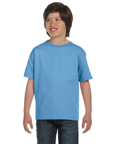 Carolina Blue Youth DryBlend 5.6 oz., 50/50 T-Shirt as seen from the front
