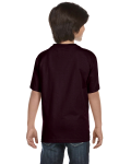 Dark Chocolate Youth DryBlend 5.6 oz., 50/50 T-Shirt as seen from the back