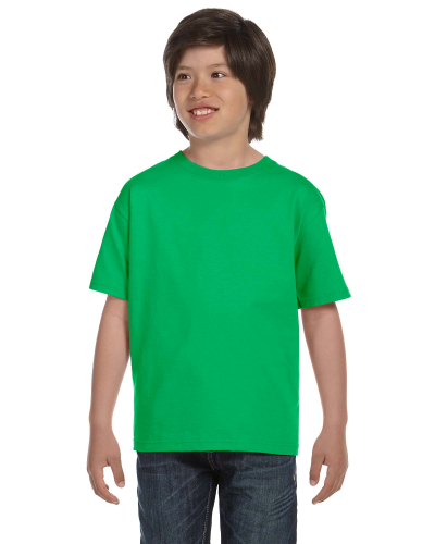 Electric Green Youth DryBlend 5.6 oz., 50/50 T-Shirt as seen from the front
