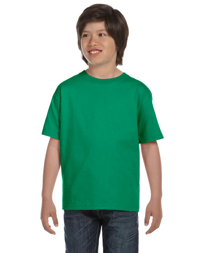Kelly Green Youth DryBlend 5.6 oz., 50/50 T-Shirt as seen from the front