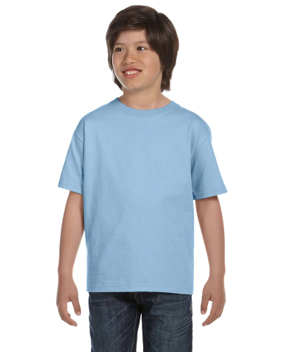 Light Blue Youth DryBlend 5.6 oz., 50/50 T-Shirt as seen from the front