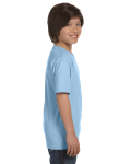Light Blue Youth DryBlend 5.6 oz., 50/50 T-Shirt as seen from the sleeveleft