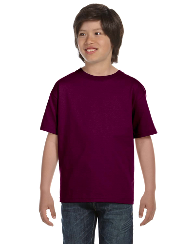 Maroon Youth DryBlend 5.6 oz., 50/50 T-Shirt as seen from the front