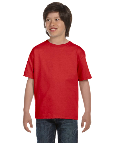 Red Youth DryBlend 5.6 oz., 50/50 T-Shirt as seen from the front