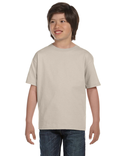 Sand Youth DryBlend 5.6 oz., 50/50 T-Shirt as seen from the front