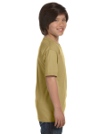 Tan Youth DryBlend 5.6 oz., 50/50 T-Shirt as seen from the sleeveleft