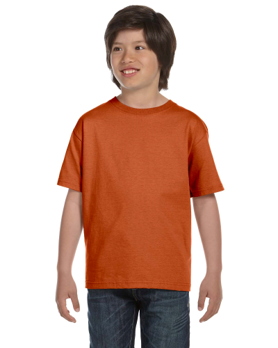 Texas Orange Youth DryBlend 5.6 oz., 50/50 T-Shirt as seen from the front