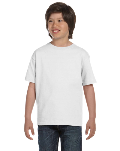 White Youth DryBlend 5.6 oz., 50/50 T-Shirt as seen from the front