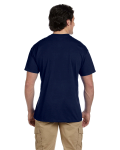 Navy DryBlend™ 5.6 oz., 50/50 Pocket T-Shirt as seen from the back