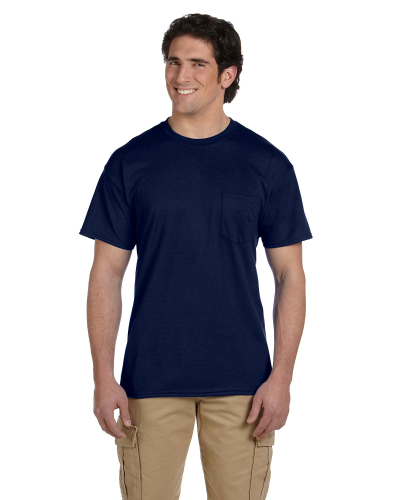 Navy DryBlend™ 5.6 oz., 50/50 Pocket T-Shirt as seen from the front