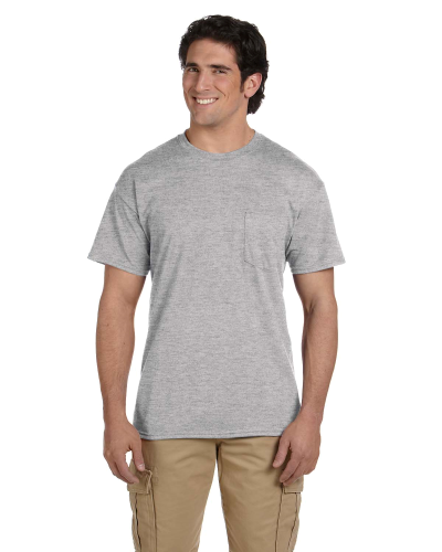 Sport Grey DryBlend™ 5.6 oz., 50/50 Pocket T-Shirt as seen from the front