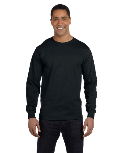 Black DryBlend 5.6 oz., 50/50 Long-Sleeve T-Shirt as seen from the front