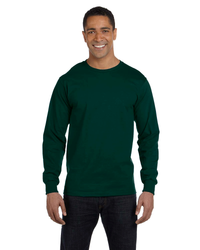 Forest Green DryBlend 5.6 oz., 50/50 Long-Sleeve T-Shirt as seen from the front