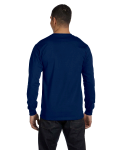 Navy DryBlend 5.6 oz., 50/50 Long-Sleeve T-Shirt as seen from the back