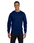 Navy DryBlend 5.6 oz., 50/50 Long-Sleeve T-Shirt as seen from the front