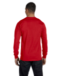 Red DryBlend 5.6 oz., 50/50 Long-Sleeve T-Shirt as seen from the back
