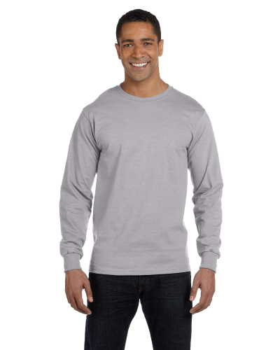 Sport Grey DryBlend 5.6 oz., 50/50 Long-Sleeve T-Shirt as seen from the front