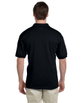 Black 5.6 oz. DryBlend™ 50/50 Jersey Polo as seen from the back