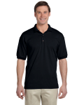 Black 5.6 oz. DryBlend™ 50/50 Jersey Polo as seen from the front