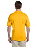 Gold 5.6 oz. DryBlend™ 50/50 Jersey Polo as seen from the back
