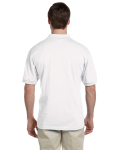 White 5.6 oz. DryBlend™ 50/50 Jersey Polo as seen from the back
