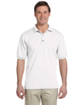 White 5.6 oz. DryBlend™ 50/50 Jersey Polo as seen from the front