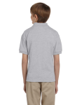Ash Grey DryBlend Youth 5.6 oz., 50/50 Jersey Polo as seen from the back