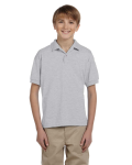 Ash Grey DryBlend Youth 5.6 oz., 50/50 Jersey Polo as seen from the front