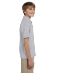 Ash Grey DryBlend Youth 5.6 oz., 50/50 Jersey Polo as seen from the sleeveleft