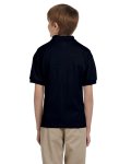 Black DryBlend Youth 5.6 oz., 50/50 Jersey Polo as seen from the back