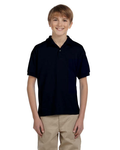 Black DryBlend Youth 5.6 oz., 50/50 Jersey Polo as seen from the front