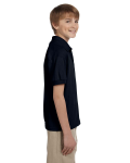 Black DryBlend Youth 5.6 oz., 50/50 Jersey Polo as seen from the sleeveleft