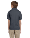 Dark Heather DryBlend Youth 5.6 oz., 50/50 Jersey Polo as seen from the back