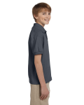 Dark Heather DryBlend Youth 5.6 oz., 50/50 Jersey Polo as seen from the sleeveleft